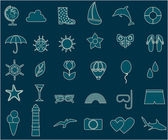 Vector set on the theme of summer travel and tourism on white background Vector flat illustrations