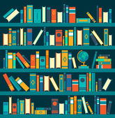 Vector of library book shelf background Vector flat illustrations