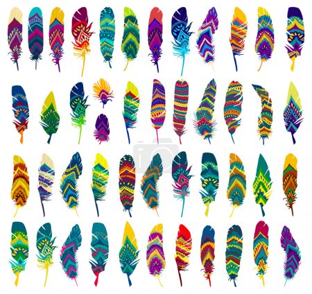Illustration for Very Big set of colorful Tribal Ethnic Feathers. Vector flat illustration - Royalty Free Image