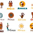 Vector set of stylized African and Safari elements...