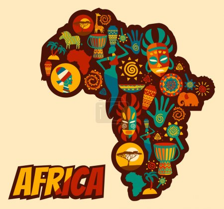 Illustration for Vector set of stylized African and Safari elements and icons. Flat illustration. - Royalty Free Image
