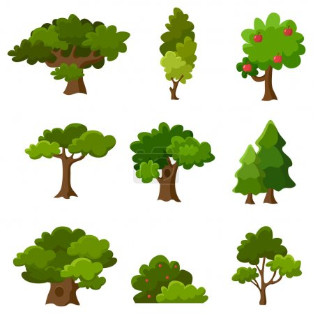 Illustration for Set of abstract stylized trees. Natural flat illustration.leaves - Royalty Free Image