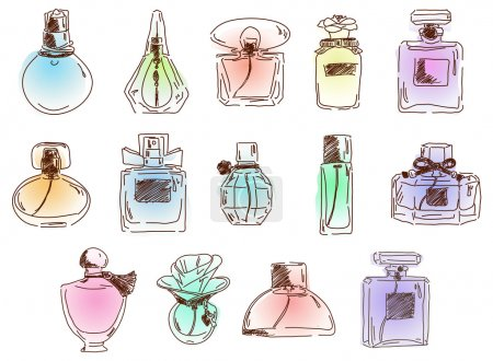 The set of cute different perfumes