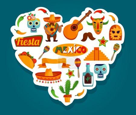 Mexico landmark flat icons