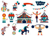 Vintage circus collection with carnival fun fair vector icons and background and illustration