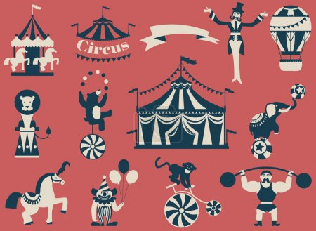 Vintage circus collection with carnival