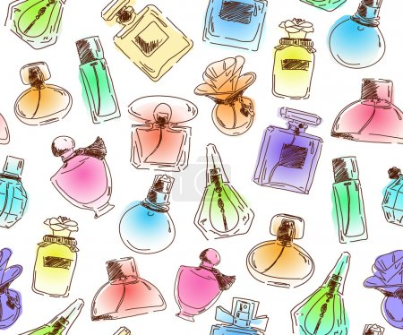 Seamless pattern with Beautiful perfume bottles