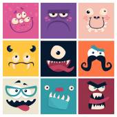 Set of cartoon cute character Monsters Vector flat illustration