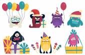 Celebration set of cartoon cute character Monsters