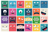 Set of cartoon cute character Monsters