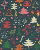 Lovely Christmas seamless pattern for winter forest ornaments in bright colors Stylish forest background in vector flat illustration