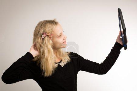 Teenage Girl Taking A Selfie On Her Tablet