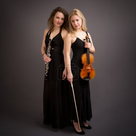 Beautiful Young Female Classical Music Duo