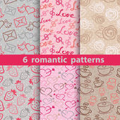 Collection of 6 patterns with love symbols Vector pattern can be used for web design and other crafts