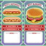 Retro style delicious burger and hot dog cafe menu...