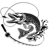 Vector illustration of big pike fish in waves with fishing rod Vector illustration can be used for creating logo and emblem for fishing clubs prints web and other crafts