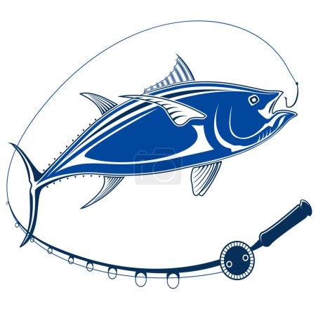 TUNA FISH ISOLATED BLUE