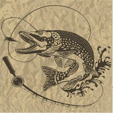 PIKE FRESH FISH BROWN BACKGROUND 3