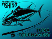 Vector illustration of tuna tournament Vector illustration can be used for creating logo and emblem for fishing clubs prints web and other crafts