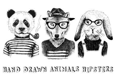 Illustration pour Animaux habillés à la main dans un style hipster - image libre de droit