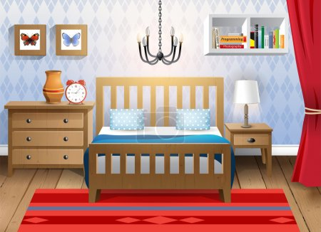 Illustration for Interior design - big modern bedroom - Royalty Free Image