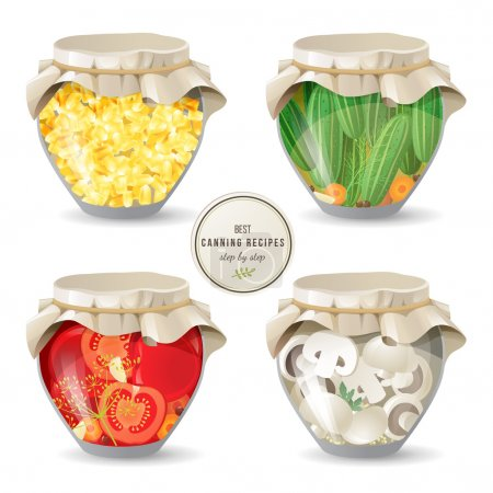 Illustration for 4 jars with canned mushrooms and vegetables - Royalty Free Image