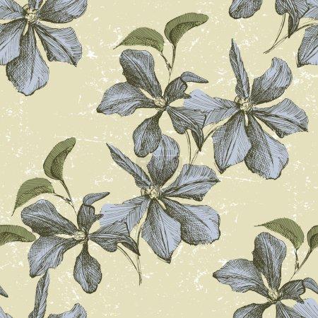 Photo pour Ornement sans couture avec fleurs clématites dessinées à la main - image libre de droit