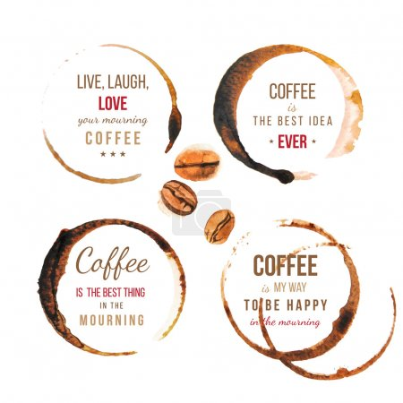 Illustration for Coffee stains with type designs about coffee - Royalty Free Image