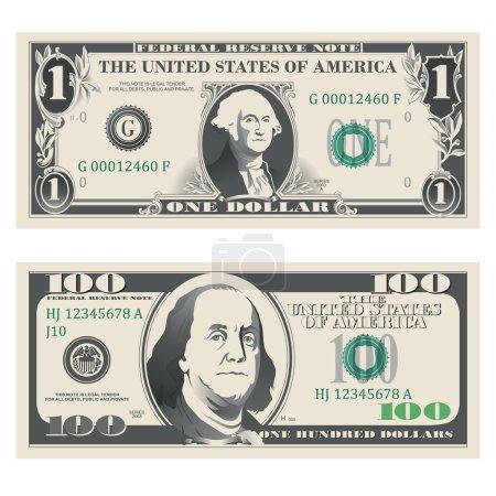 Illustration pour Billets de banque de 1 et 100 dollars très détaillés - image libre de droit