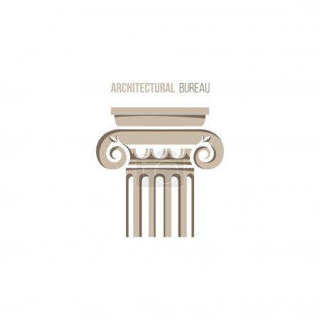 Illustration pour Modèle de logo de bureau architectural avec colonne ionique - image libre de droit