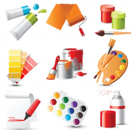 Illustration for 9 highly detailed artists supplies icons - Royalty Free Image