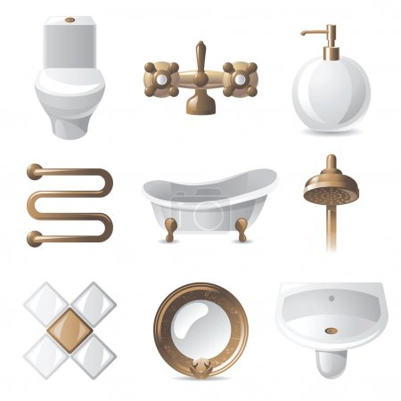 Illustration pour 9 icônes de salle de bain style vintage - image libre de droit