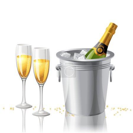 Illustration pour 2 verres pleins et une bouteille de champaigne dans un seau à glace - image libre de droit