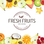 Bright background with fresh fruits