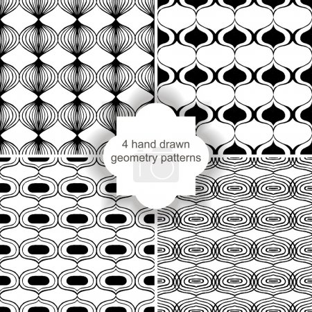 Illustration for 4 hand drawn geometry patterns - Royalty Free Image