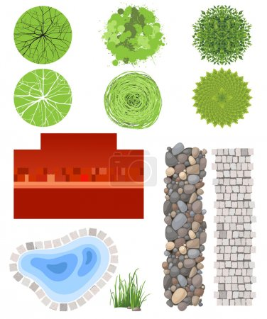 Illustration for Highly detailed landscape design elements - easy to make your own plan! - Royalty Free Image
