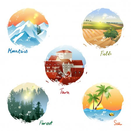 Illustration for 5 different landscape types - mountains, fields, town, forest and sea - Royalty Free Image