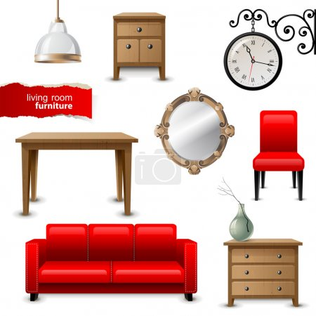 Illustration for Highly detailed living room furniture icons - Royalty Free Image