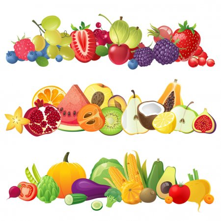 Illustration for 3 fruits vegetables and berries horizontal borders - Royalty Free Image