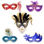 5 bright carnival masks...