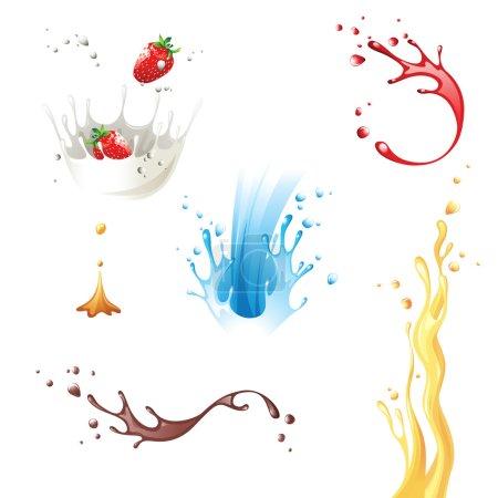 Illustration for 6 highly detailed splash icons - Royalty Free Image