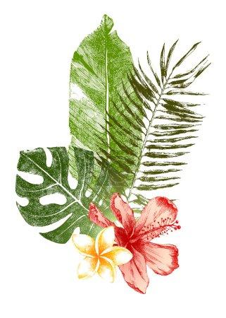 Photo pour Ensemble de feuilles tropicales dessinées à la main et de fleurs en couleur - image libre de droit