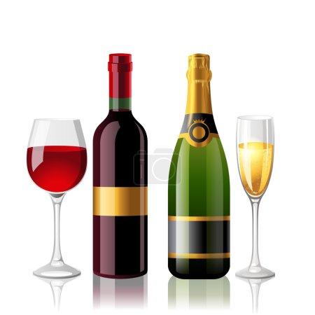 Photo pour Vin rouge et champaigne avec 2 verres pleins - image libre de droit