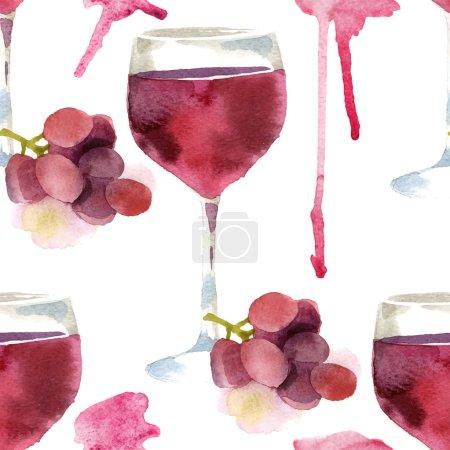 Illustration pour Vin aquarelle lumineux motif sans couture - image libre de droit