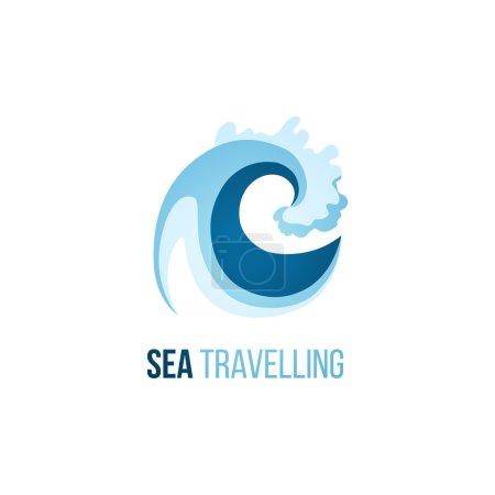 Illustration pour Modèle de logo émerveillement de la mer avec vague sur fond blanc - image libre de droit