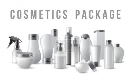 Illustration for Cosmetics packages border with silver caps - Royalty Free Image