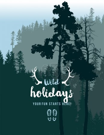 Illustration for Retro-styled poster with coniferous forest landscape - Royalty Free Image