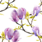 Watercolor magnolia seamless pattern on white background