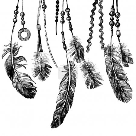 background with hand drawn feathers