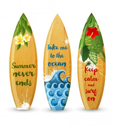 wooden surfboards with type designs